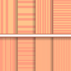 Retro stripes seamless patterns set - vector textures