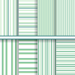 Bright stripes seamless patterns set - green vector textures