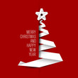 Simple vector card with christmas tree made from paper stripe