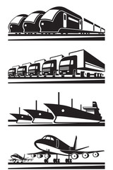 Large cargo transportation - vector illustration