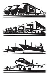 Large cargo transportation - vector illustration