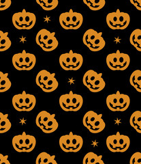Seamless pattern of Halloween pumpkins