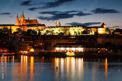 Fotobehang Praag Old town of Prague as seen over river Vltava.