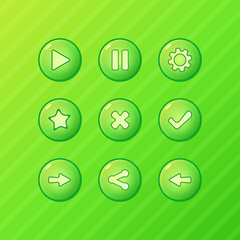 Green game UI - vector set of buttons for game development