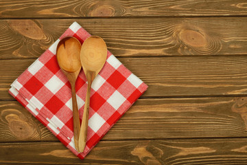 Wooden spoon and napkin