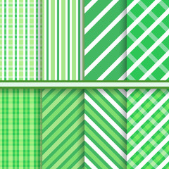 Green retro diagonal stripes vector seamless patterns set