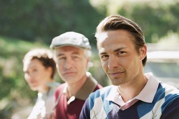 Italien,Kastelruth,Golfer auf dem Golfplatz, Portrait