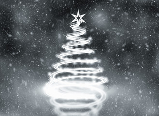 Silver abstract christmas tree illustration