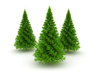 Three christmas pine trees