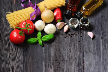Pasta, and ingredients for spaghetti