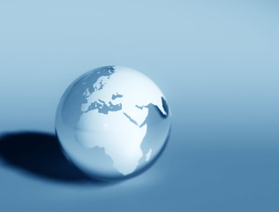 World globe blue glass