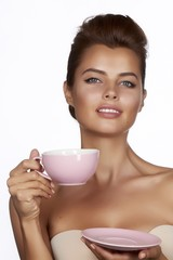 Young sexy beautiful woman cup drink tea or coffee