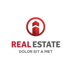 Letter I real estate sign logo icon  with house and arrow.