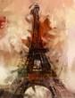 Leinwanddruck Bild - Paris Gemälde Eiffelturm Eifelturm Bild Kunst Ölgemälde