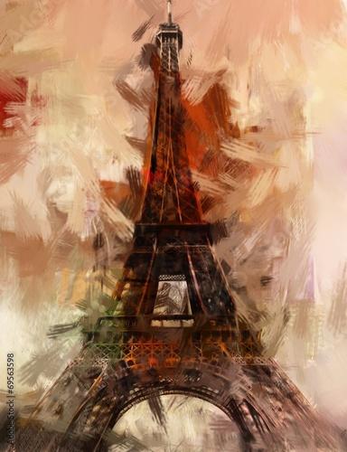 Foto op Aluminium Artistiek mon. Paris Gemälde Eiffelturm Eifelturm Bild Kunst Ölgemälde
