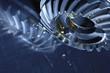 titanium cogwheels with lubricant small oil slicks