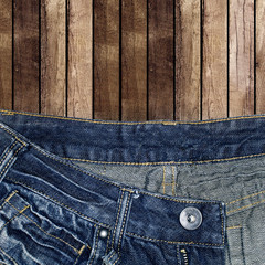 jeans with wooden background
