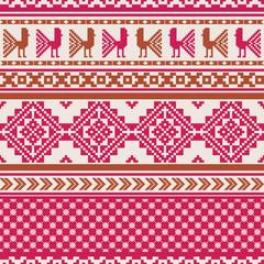 Geometric ornamental pattern with birds in folk style