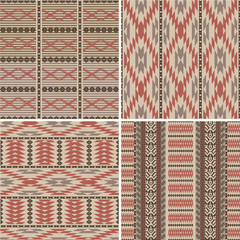 Set of abstract geometric ornamental patterns in ethnic style