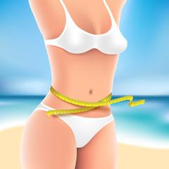 Woman at sea in bikini