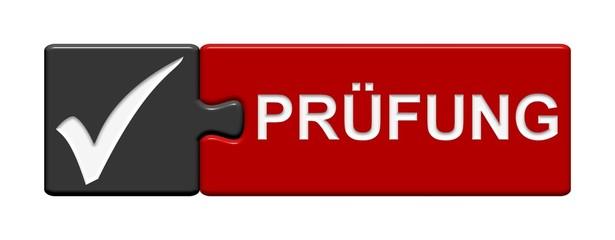 Puzzle-Button grau rot: Prüfung