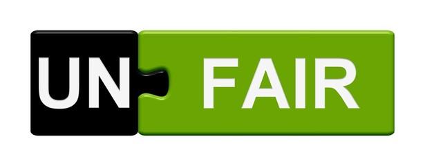 Puzzle-Button schwarz grün: Unfair / Fair