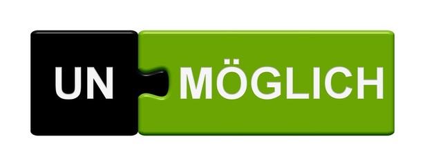 Puzzle-Button schwarz grün: Unmöglich / Möglich