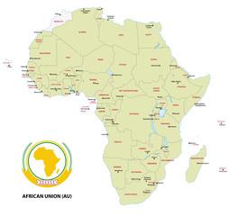 Karte der Mitgliedsstaate der Afrikanischen Union (AO)