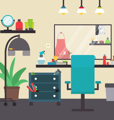 Hair salon interior vector illustration hairdresser's