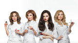 Beauty salon workers with professional tools