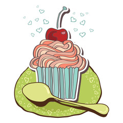 Card with tea and cupcakes.