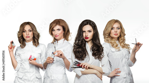 Beauty salon workers with professional tools - 69565956
