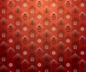 Christmas red background. New Year pattern with Santa Claus