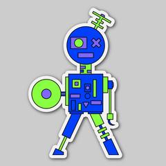 sticker - colored cartoon robot