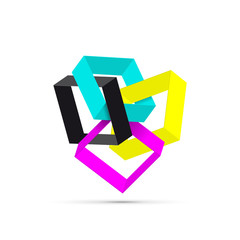 Vector abstract shape 3d ,CMYK for printer