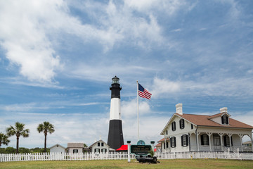 American Flag and Tybee Lighthouse