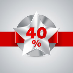 40% discount badge with red ribbon