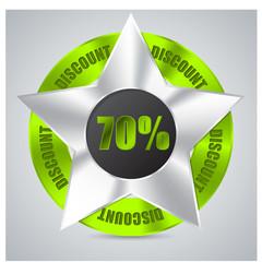 Green metallic badge