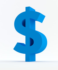 Blue Dollar sign isolated