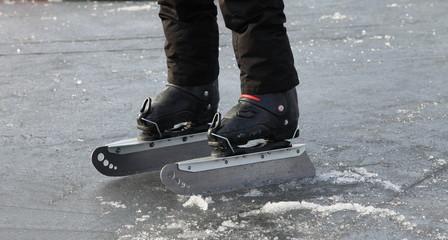 Huge blade skates for skating on ice