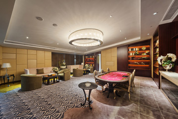 Modern Room for recreation, with poker table