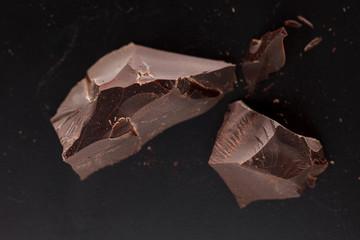 chocolate on black background