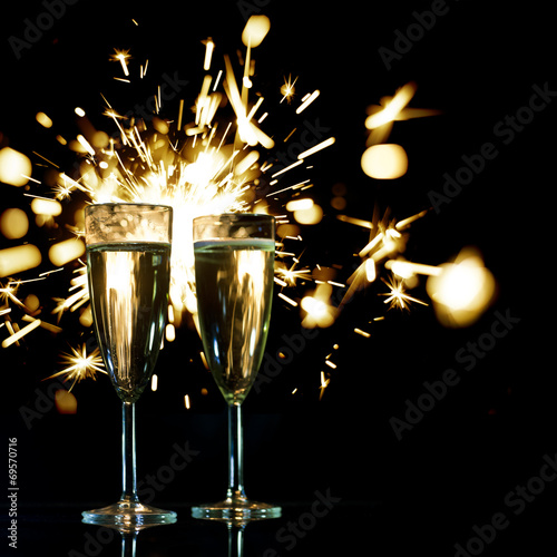 canvas print picture Champagne glasses and sparkler