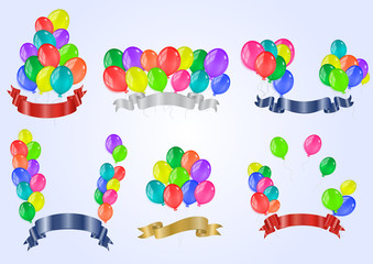 Colorful balloons with ribbons