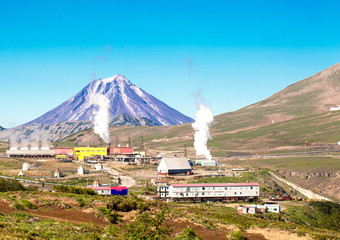 Geothermal power station near a volcano