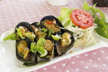 Thai food spicy Mussel