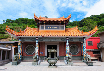 Chinese temple in Taiwan under the blue sky