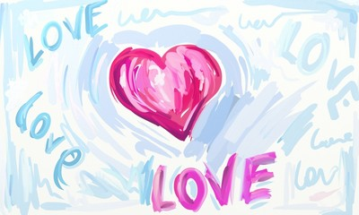 Love Artwork, Watercolor Paint(Raster Paint)
