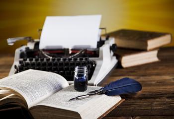 Retro typewriter with white paper