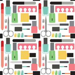 Nail beauty and care vector seamless pattern background
